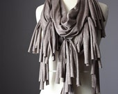 Infinity  scarf Circle Scarf  summer spring light loop tube taupe / brown iridescent fringy tassels