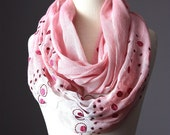 Eco Infinity Scarf  50 / 50%  Cotton / Hemp Powder Pink rose smoke embroidery gauze summer spring light loop tube  soft