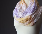 Infinity Scarf   tie dye Print   white lilac yellow pastel summer spring light loop tube  soft crinkled