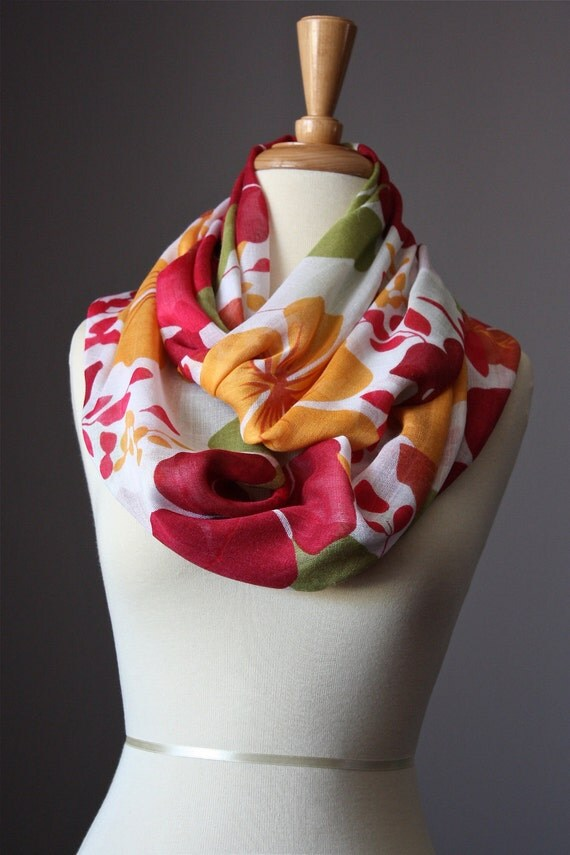 SALE Infinity Scarf Floral Print green red orange gauze summer spring light loop tube  soft