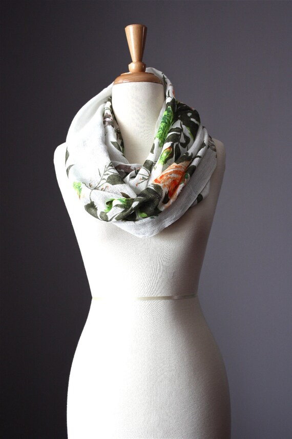 Eco Infinity Scarf  55 / 45%  Linen / Cotton Floral Print Green Orange gauze summer spring light loop tube  soft