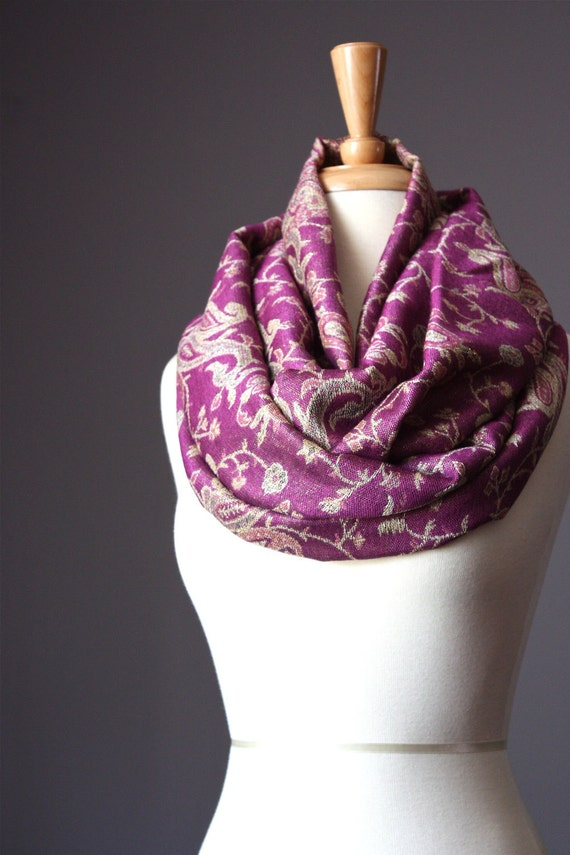 SPECIAL OFFER  Scarf  silk  Floral pashmina paisley   spring  loop tube Circle soft purple golden tones metallic