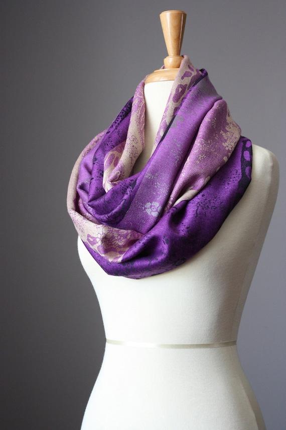 Pashmina Infinity Scarf  , silk  , paisley , jaguar , Purple
