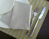 Yellow Stripe Linen Placemat set of 2