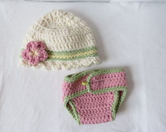 Baby Girl Crochet Flower Hat & Diaper Cover Set