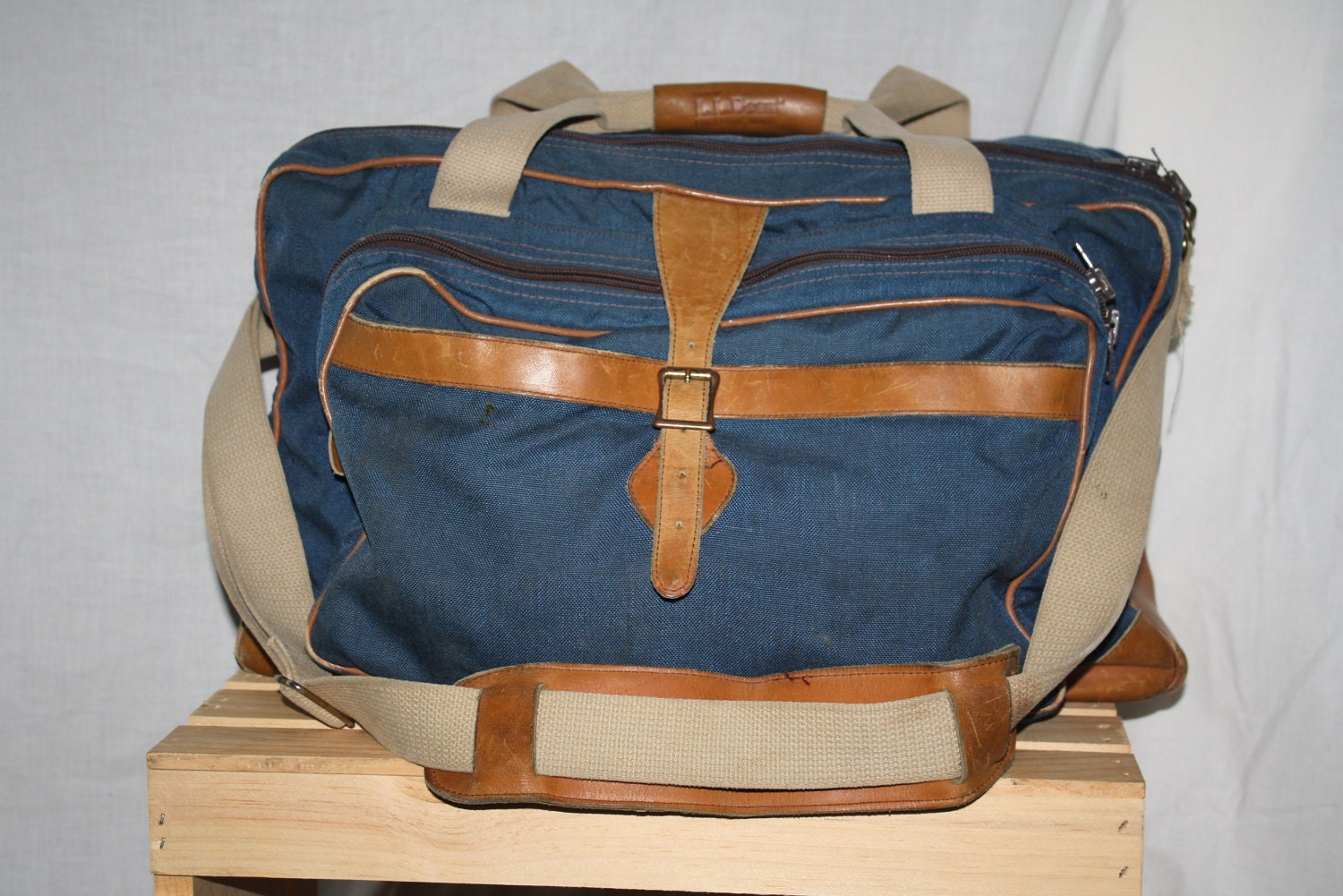 l l bean vintage leather duffel bag canvas carry on by