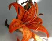 Brooch Lily Orange Lily Flower Felted Orange Flower Brooch Flower Jewellery