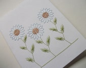 THREE DAISY Flowers, Embroidery on Paper, Hand Stitched Card, BLANK To Personalize, Blank Card