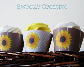 Sunflower Party Cupcake Wrappers - INSTANT DOWNLOAD - Printable Digital File