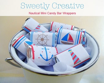Nautical Mini Candy Bar Wrappers with Sailboat, Lighthouse, Anchor and Helm - INSTANT DOWNLOAD - Printable Digital File