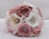 RESERVED Custom Order: Fabric Flower Wedding Bouquet, with brooches - Anne