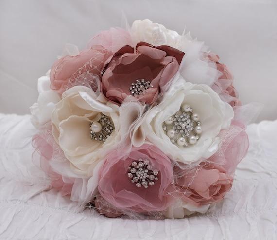 Fabric Flower Wedding Bouquet Tutorial: Items Similar To SOLD Custom Order: Fabric Flower Wedding