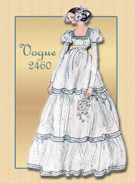 Vintage 1970s Bridal Gown or Bridesmaid Dress Vogue Pattern 2460 Bohemian Styled Triple Tiered Skirt Empire Waist Leg O Mutton Sleeves