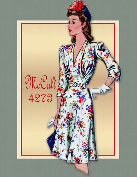 Vintage 1940s Dress Pattern McCall 4273 -Big Band WWII Swing Era Day Dress Sexy Bodice Detail