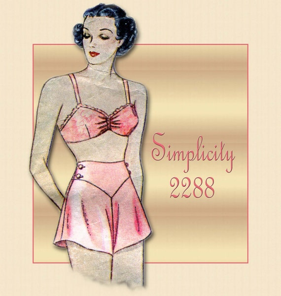 Vintage Simplicity Glam Lingerie Pattern 2288 Pin Up Style  Bra and Tap Panties Rare 1930s