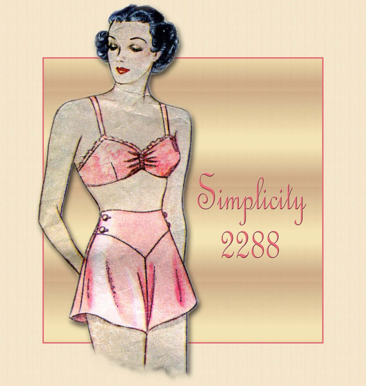 Vintage Simplicity Glam Lingerie Pattern 2288 Pin Up Style