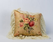 This pillow is on hold for Anna Tsigos. Vintage Pillow, Shabby Chic Pillow, Victorian Pillow, Beige Pillow