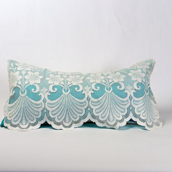 Shabby Chic Pillows Lace Pillow Turquoise Pillow Victorian
