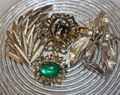 Vintage Brooches Lot 4, Gold, Silver, Green Gem