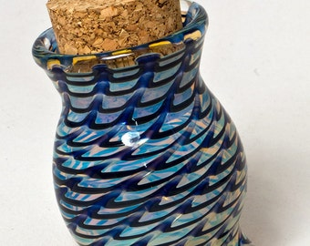 Blue tripod pyrex stash jar