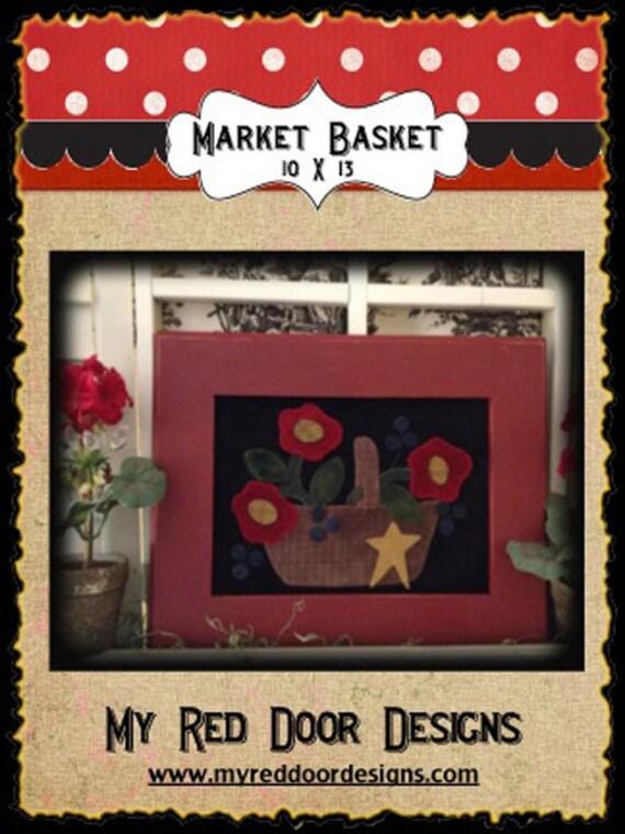 Market Basket wool applique kit and pattern