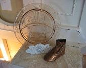 Shabby Pink Depression Glass Nursery Plate- Vintage Tiara-Romantic Cottage Decor-Childs Plate