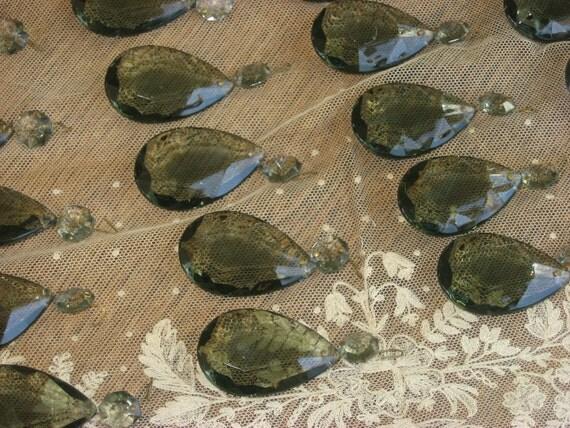 Antique Shabby Chandelier Prisms-Crystal Teardrop-Smoky Green Prisms-Paris Apt-Gothic
