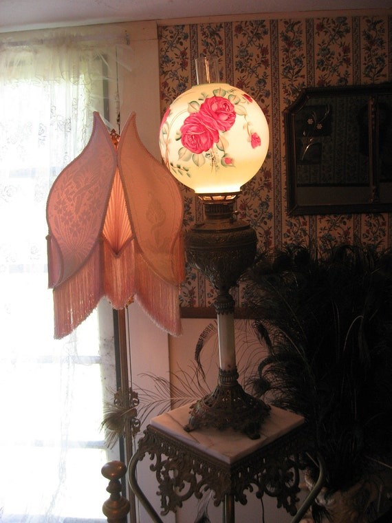 RESERVED--Gorgeous Antique Banquet Lamp Shabby Victorian Cottage Oil Lamp Converted to Electric