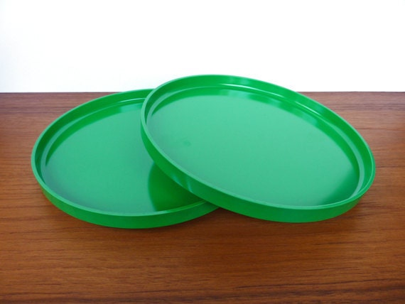 RESERVED Set of 2 Green Heller Dinner Stacking Plates- no.1