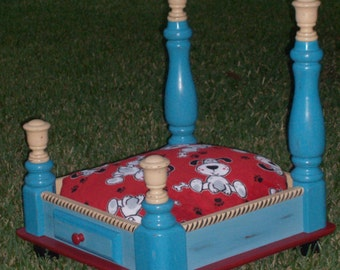 Hand Painted, Handmade Wood Dog/Pet Bed