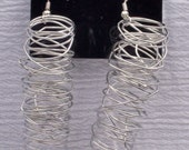 Dance Darling Jewelry Designs Long Silver Spiral Earrings