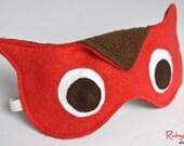 Owl Sleep Mask / Fleece Eye Mask / Adjustable / Red / Brown