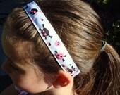 No Slip Sports Headband - Pink Skulls/Hearts, Made to Order