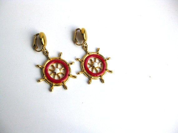 Nautical Dangle Earrings - Captains Wheel - large gold and red clip ons