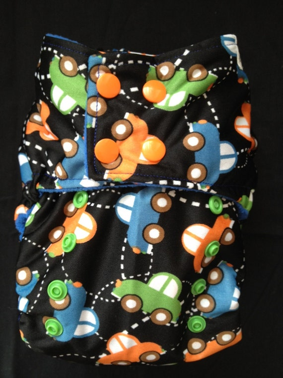 One-Size Pocket Style Cloth Diaper: Cars Goin' Round Print