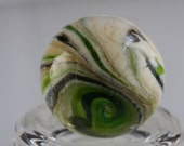 Green & Ivory Striped Soft Glass Marble