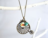 Bicycle Necklace - Antique Bicycle Pendant with Glass Flower Beads - Pendant Necklace