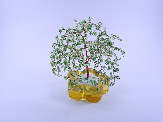 Beaded Willow Art Tree Sculpture - Paper Weight with Mixed Greed Beads in Glass Holder