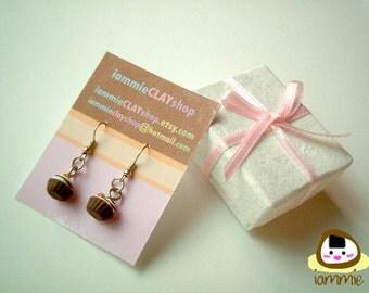 Miniature Clay Earrings, chocolate, cupcake, Gift Box, accessories, kawaii, fake rhinestone, faux gem, green, present, iammie, lammie