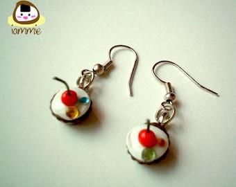 Miniature Clay Chocolate Cherry Cupcake Dangle Earrings, Gift Box, accessories, cute, fake rhinestone, faux, gem, present, iammie, lammie