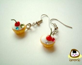 Miniature Clay Chocolate Cherry Cupcake Dangle Earrings, Gift Box, accessories, fake rhinestone, faux gem, cake, iammie, lammie