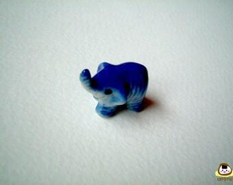 Little Blue Ceramic Elephant Figure: mini animal, ceramic animal, tiny animal, small animal, little animal, miniature animal, iammie, lammie