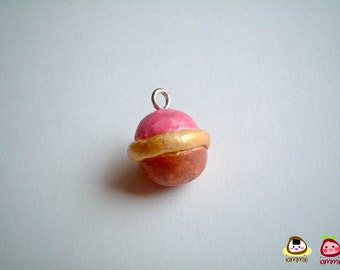 Miniature Clay Pendant, ornament, element, Atomic Ball, atom, charm, necklace, mini, tiny, boy, dollhouse, pink, brown, accessories, OOAK