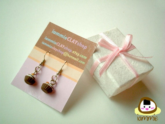Miniature Clay Earrings, chocolate, cupcake, Gift Box, accessories, kawaii, fake rhinestone, faux gem, green, present, iammie, lammie