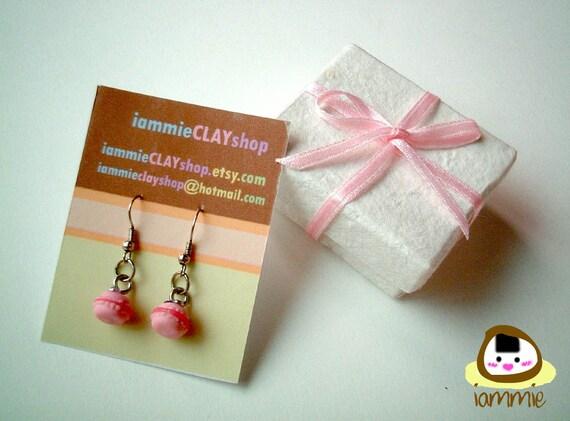 Miniature Pink Macaroon Clay Dangle Earrings, Gift Box, macaron, fake gem, accessories cute, fake rhinestone, present, iammie, lammie