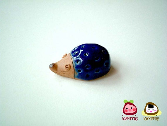 Blue Ceramic Porcupine Figure, hedgehog: mini animal, ceramic animal, small animal, little animal, decoration, miniature, iammie, lammie