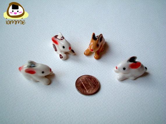 Miniature White Ceramic Bunny Figure, rabbit, desk buddy, porcelain, small bunny, tiny animal, small animal, mini rabbit, little, iammie