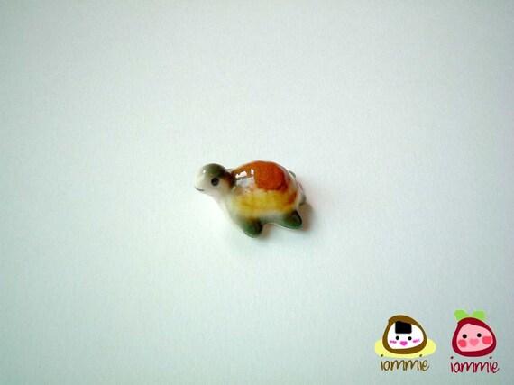 Miniature Ceramic Turtle, tortoise, green, yellow, brown, porcelain animal, small turtle, tiny animal, small animal, mini turtle, iammie