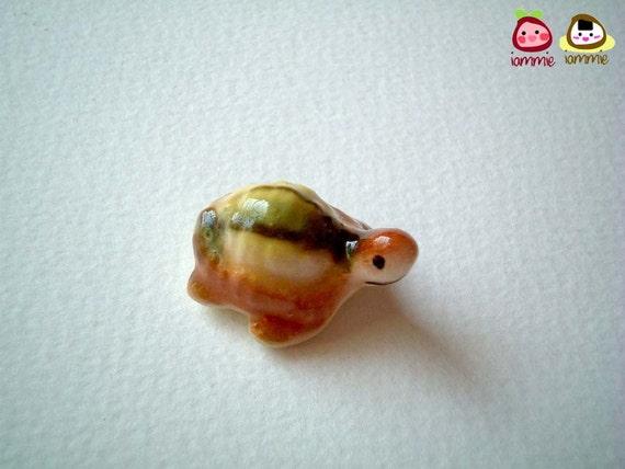 Miniature Ceramic Turtle, tortoise, brown, yellow, green, porcelain animal, small turtle, tiny animal, small animal, mini turtle, iammie