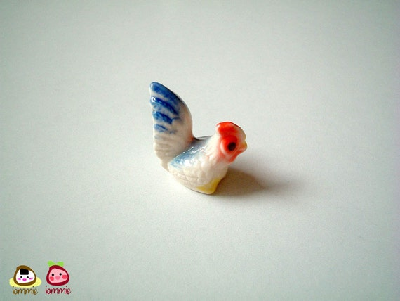 White with Blue Bottom Ceramic Chicken, rooster, chick, mini animal, ceramic animal, little animal, small animal, tiny, miniature, iammie